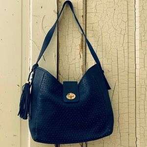 Isaac Mizrahi blue leather purse